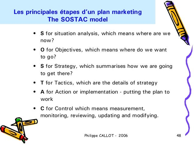 Les principales étapes d'un plan marketing           The SOSTAC model      • S for situation analysis, which means where a...