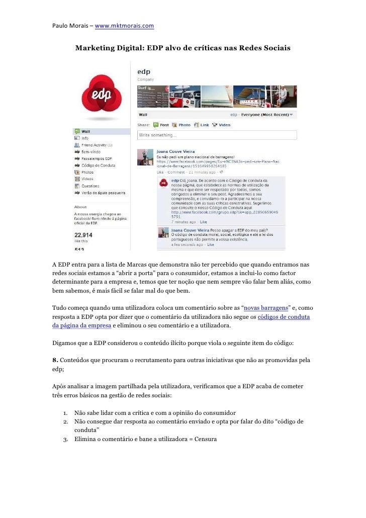 Paulo Morais – www.mktmorais.com        Marketing Digital: EDP alvo de críticas nas Redes SociaisA EDP entra para a lista ...