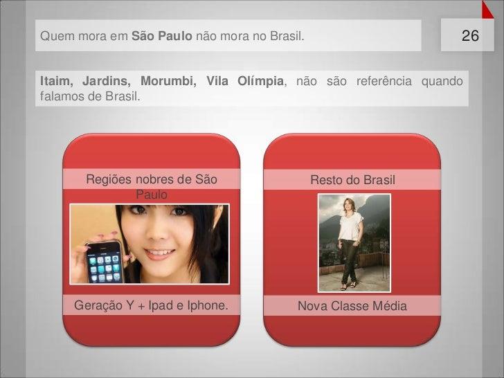 Quem mora em São Paulo não mora no Brasil.                     26Itaim, Jardins, Morumbi, Vila Olímpia, não são referência...