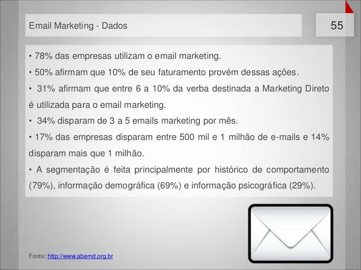 Email Marketing - Dados                                                 55• 78% das empresas utilizam o email marketing.• ...
