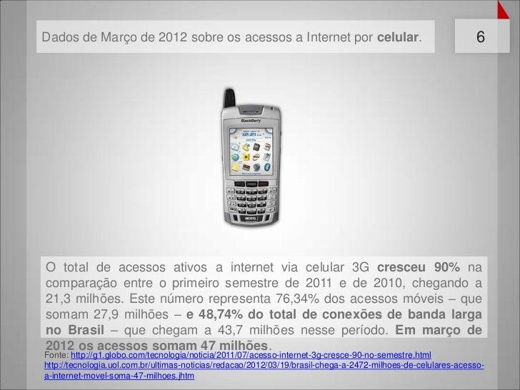 Dados de Março de 2012 sobre os acessos a Internet por celular.                                                6O total de...
