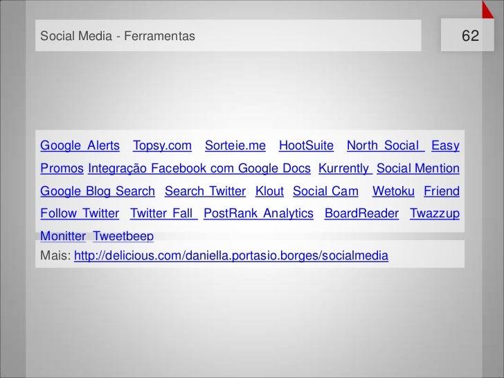 Social Media - Ferramentas                                                   62Google Alerts   Topsy.com    Sorteie.me    ...