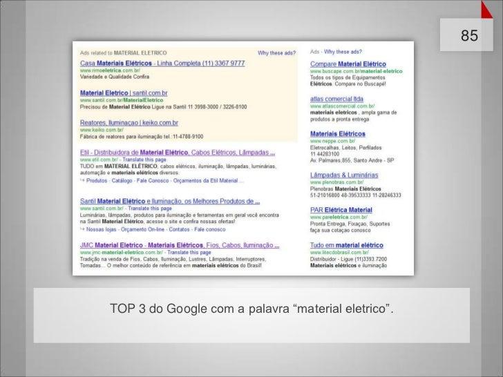 """85TOP 3 do Google com a palavra """"material eletrico""""."""