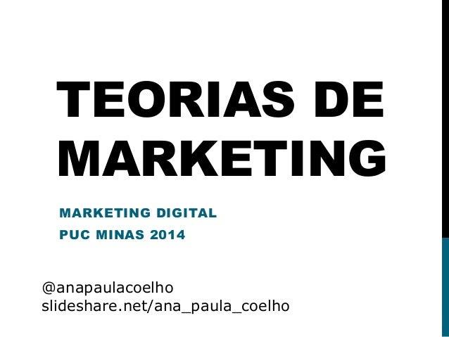 TEORIAS DE MARKETING MARKETING DIGITAL PUC MINAS 2014 @anapaulacoelho slideshare.net/ana_paula_coelho