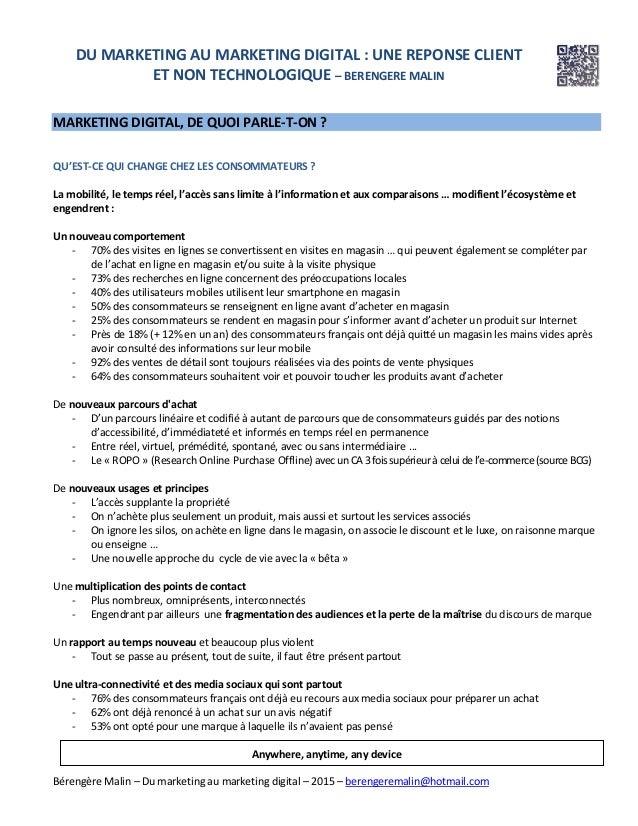 Bérengère Malin – Du marketing au marketing digital – 2015 – berengeremalin@hotmail.com DU MARKETING AU MARKETING DIGITAL ...