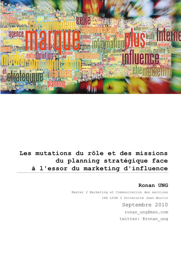 Marketing d'influence et planning strategique