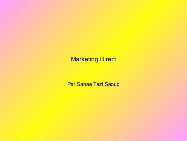 Marketing Direct Par Sanaa Tazi Saoud