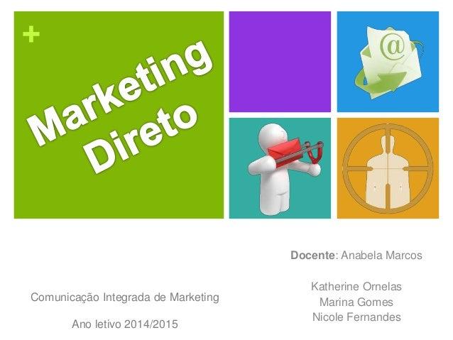 + Docente: Anabela Marcos Katherine Ornelas Marina Gomes Nicole Fernandes Comunicação Integrada de Marketing Ano letivo 20...
