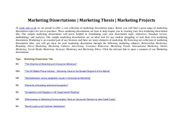 marketing strategy dissertation proposal Get your marketing dissertation written by professionals only original custom-written marketing dissertations.