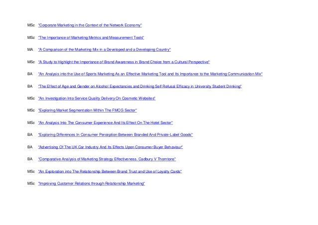 Dissertation in marketing topics