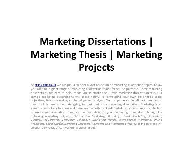 dissertation topics on marketing management