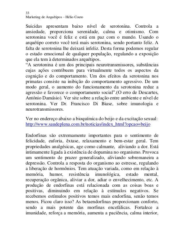 33 Marketing de Arquétipos – Hélio Couto Suicidas apresentam baixo nível de serotonina. Controla a ansiedade, proporciona ...