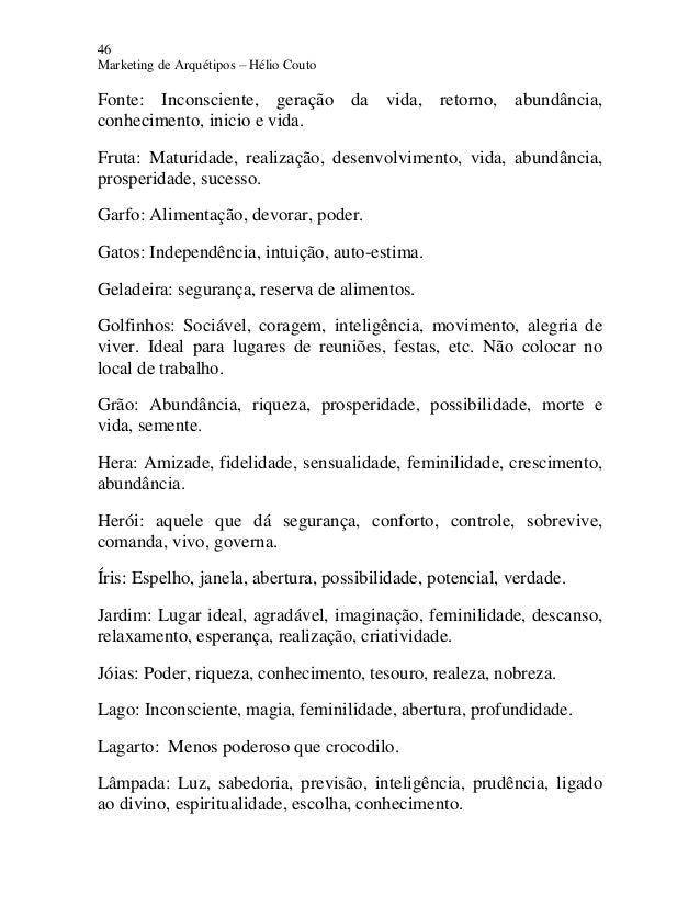 46 Marketing de Arquétipos – Hélio Couto Fonte: Inconsciente, geração da vida, retorno, abundância, conhecimento, inicio e...
