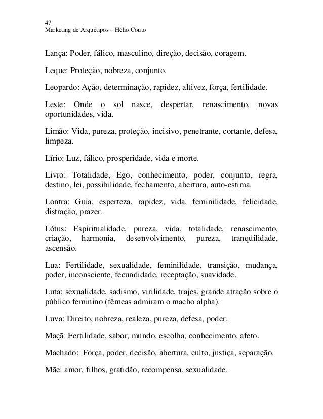 47 Marketing de Arquétipos – Hélio Couto Lança: Poder, fálico, masculino, direção, decisão, coragem. Leque: Proteção, nobr...