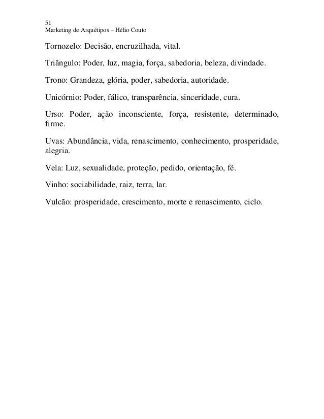 51 Marketing de Arquétipos – Hélio Couto Tornozelo: Decisão, encruzilhada, vital. Triângulo: Poder, luz, magia, força, sab...