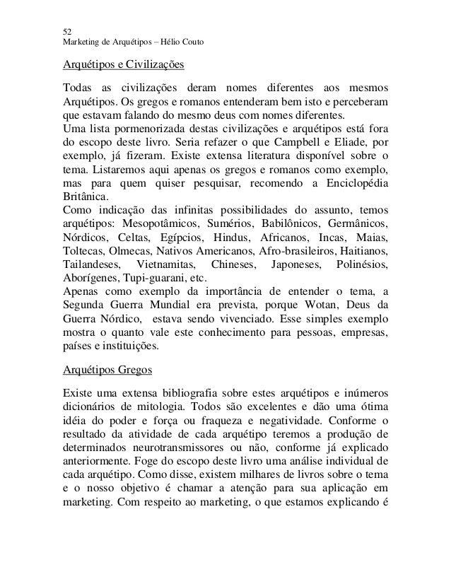 52 Marketing de Arquétipos – Hélio Couto Arquétipos e Civilizações Todas as civilizações deram nomes diferentes aos mesmos...