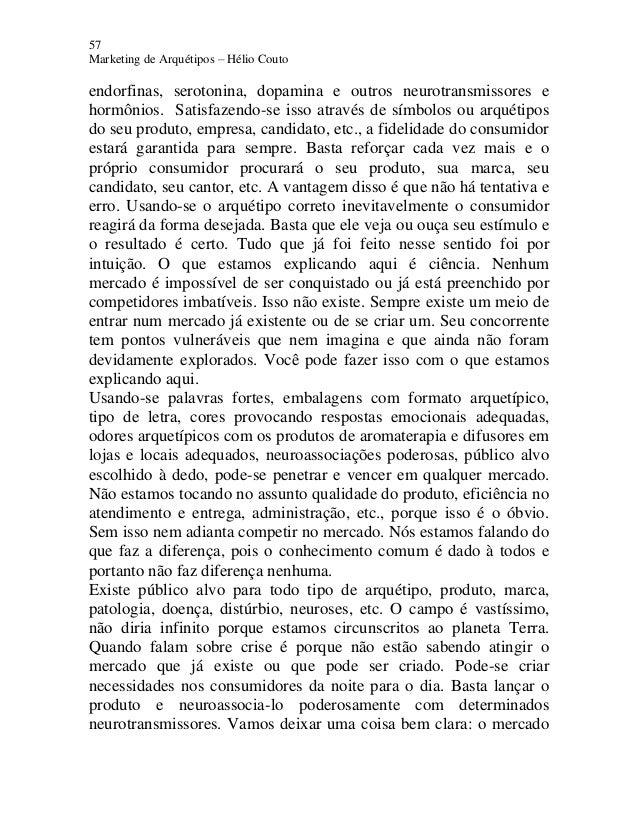 57 Marketing de Arquétipos – Hélio Couto endorfinas, serotonina, dopamina e outros neurotransmissores e hormônios. Satisfa...