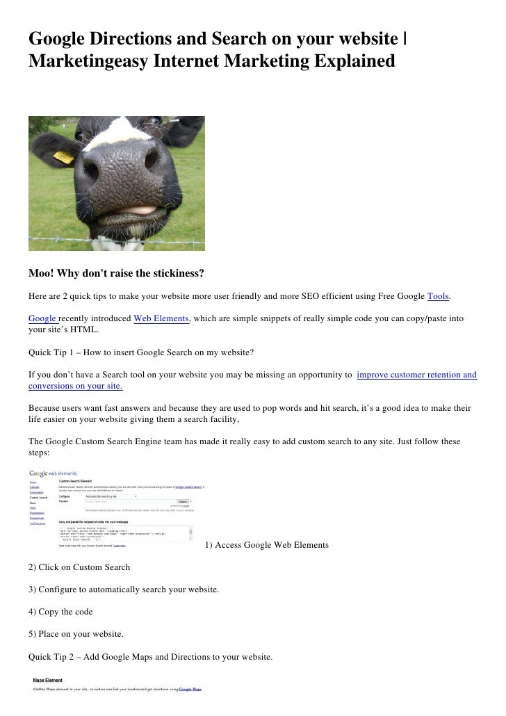 Google Directions and Search on your website | Marketingeasy Internet Marketing Explained     Moo! Why don't raise the sti...