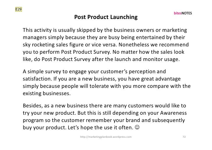 E29                             Post Product Launching       This activity is usually skipped by the business owners or ma...