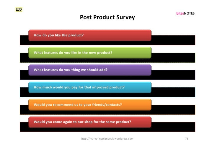 E30                                  Post Product Survey        How do you like the product?          What features do you...