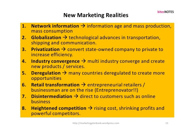 New Marketing Realities 1. Network information  information age and mass production,    mass consumption 2. Globalization...