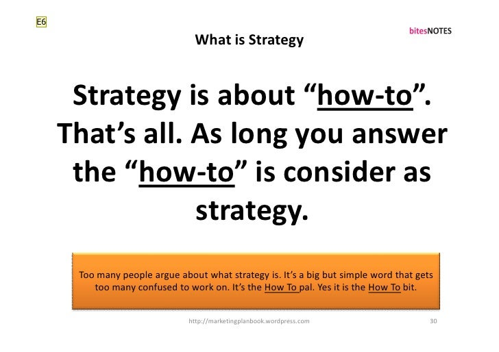 """E6                                  What is Strategy         Strategy is about """"how-to"""".      That's all. As long you answ..."""