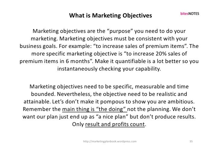 """What is Marketing Objectives       Marketing objectives are the """"purpose"""" you need to do your     marketing. Marketing obj..."""