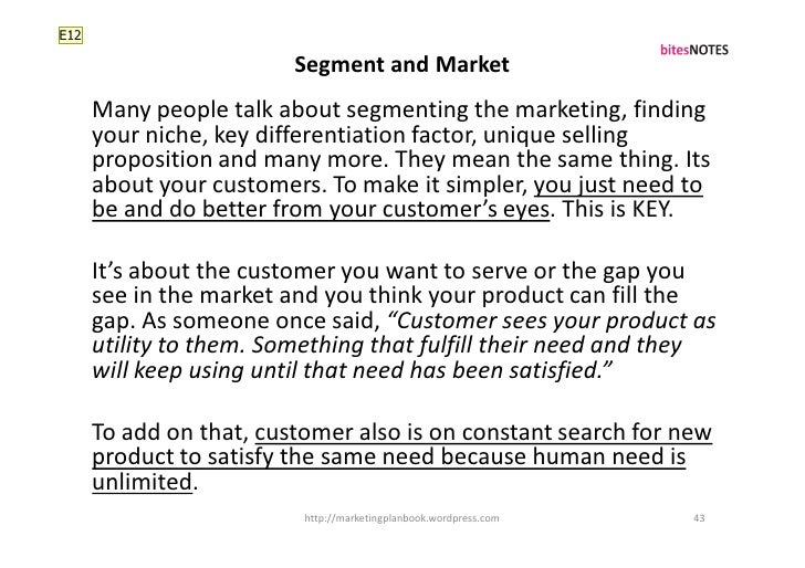 E12                           Segment and Market       Many people talk about segmenting the marketing, finding       your...