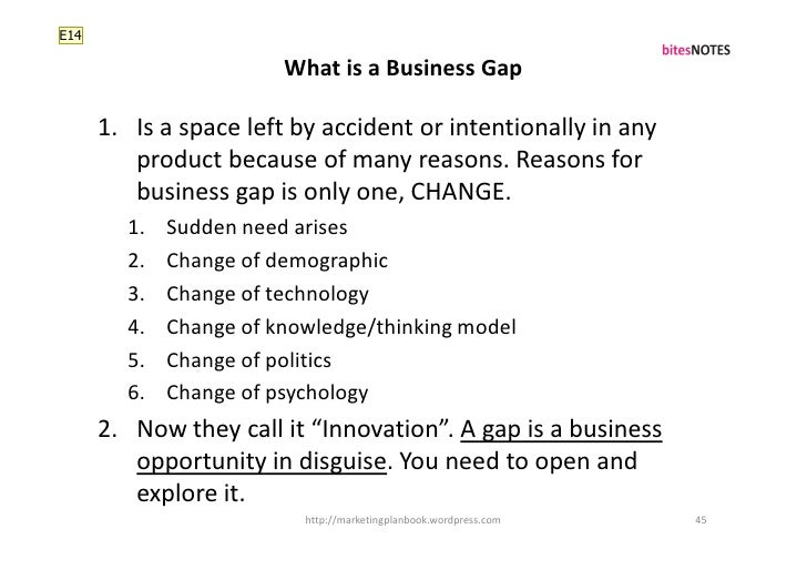 E14                          What is a Business Gap        1. Is a space left by accident or intentionally in any         ...