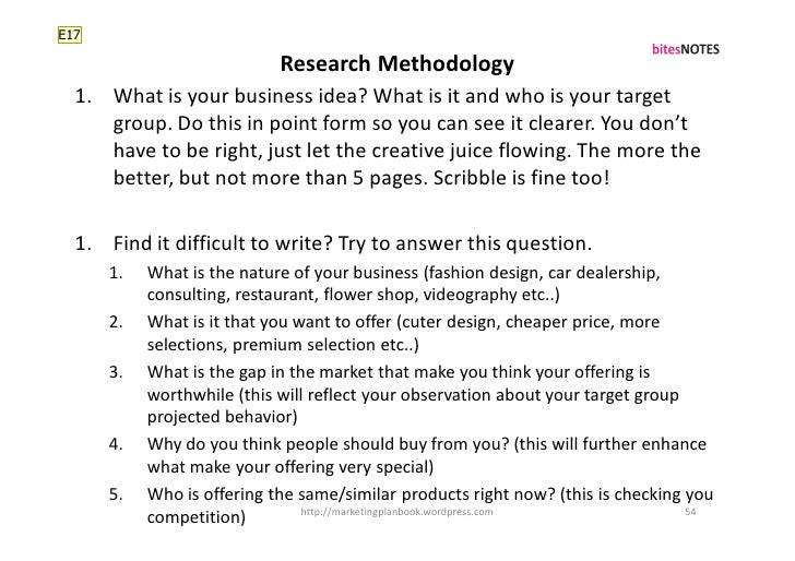 E17                              Research Methodology   1. What is your business idea? What is it and who is your target  ...