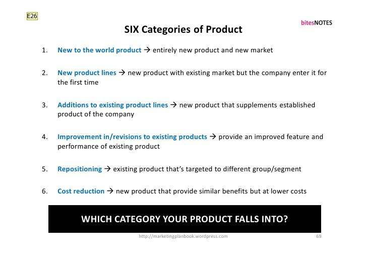 E26                                 SIX Categories of Product       1.   New to the world product  entirely new product a...