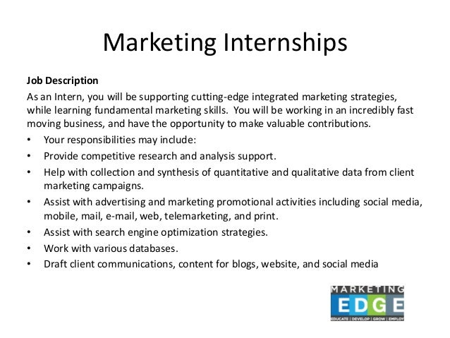 Marketing Internships Job Description ...