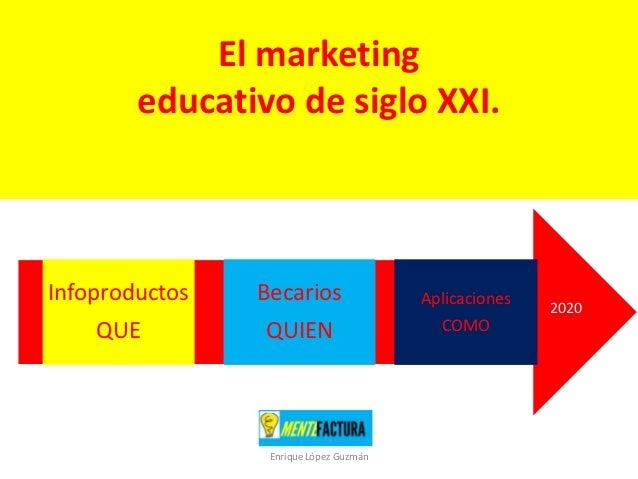 El marketing        educativo de siglo XXI.Infoproductos   Becarios                Aplicaciones                           ...
