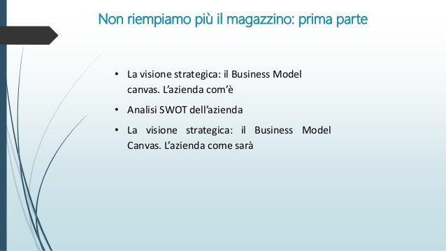 Non riempiamo più il magazzino: prima parte • La visione strategica: il Business Model canvas. L'azienda com'è • Analisi S...