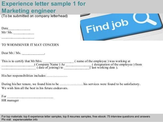 Marketing engineer experience letter 2 interview questions and answers free download pdf and ppt file experience letter sample yelopaper Gallery