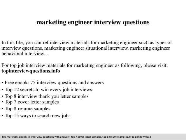 marketing engineer interview questions in this file you can ref interview materials for marketing engineer - Product Marketing Engineer Sample Resume