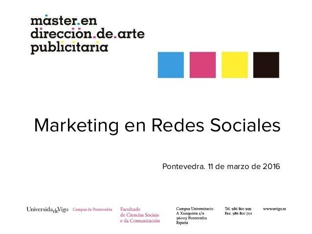 Marketing en Redes Sociales Pontevedra. 11 de marzo de 2016
