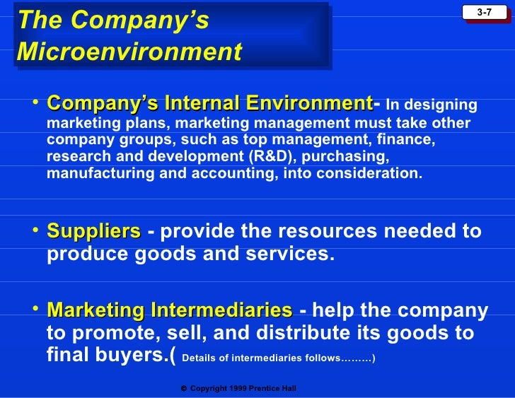the marketing environment of a company Chapter 3: analyzing the marketing environment a company's market environment consists of the actors and forces outside marketing that affect marketing.