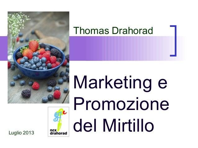 Marketing e Promozione del Mirtillo Thomas Drahorad Luglio 2013