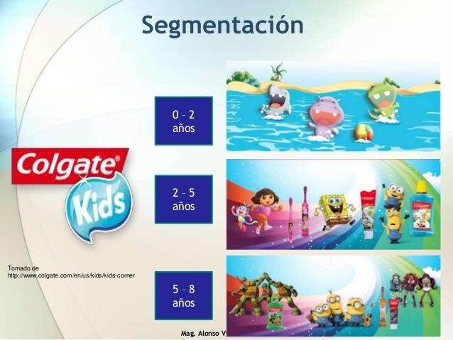 Mag. Alonso Villanueva González Segmentación Tomado de http://www.colgate.com/en/us/kids/kids-corner 0 – 2 años 2 – 5 años...