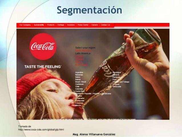 Mag. Alonso Villanueva González Segmentación Tomado de http://www.coca-cola.com/global/glp.html