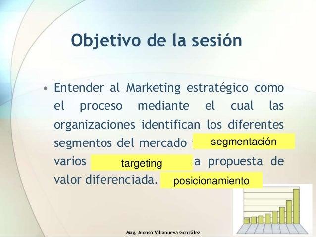 Mag. Alonso Villanueva González Objetivo de la sesión • Entender al Marketing estratégico como el proceso mediante el cual...