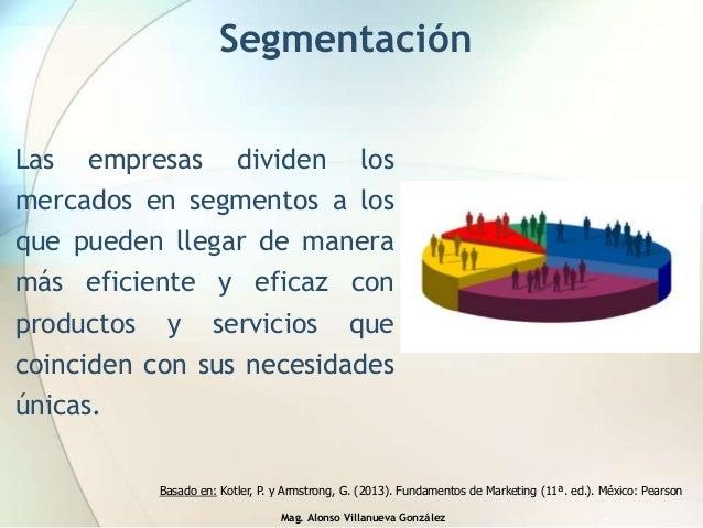 Mag. Alonso Villanueva González Segmentación Las empresas dividen los mercados en segmentos a los que pueden llegar de man...