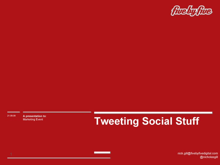Tweeting Social Stuff 21.09.09 A presentation to : Marketing Event [email_address] @nicholasgill