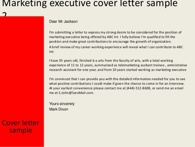 Marketing executive cover letter for Cover letter for marketing executive fresher