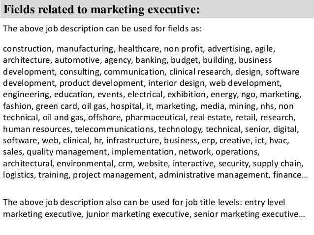 Marketing executive job description – Marketing Executive Job Description