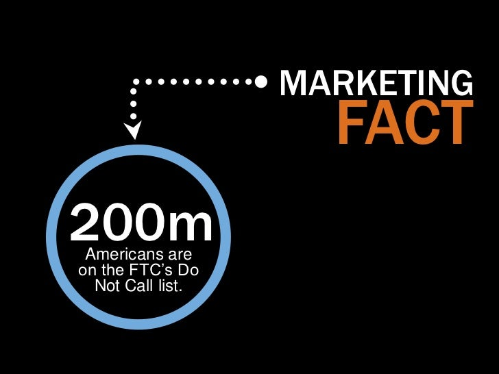 """MARKETING                     FACT200m Americans areon the FTC""""s Do  Not Call list."""