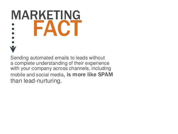 MARKETING         FACTSending automated emails to leads withouta complete understanding of their experiencewith your compa...