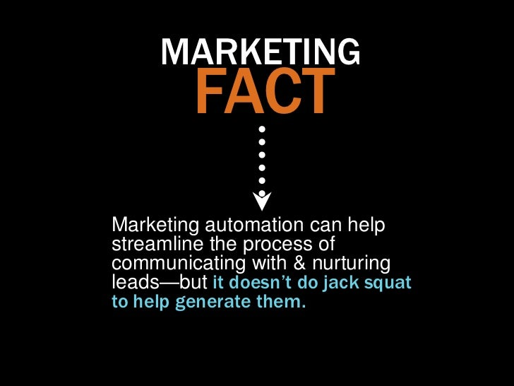MARKETING         FACTMarketing automation can helpstreamline the process ofcommunicating with & nurturingleads—but it doe...