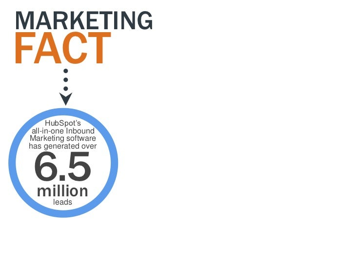 """MARKETINGFACT      HubSpot""""s all-in-one InboundMarketing software 6.5has generated over million      leads"""